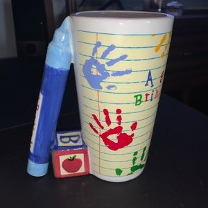 Coffee mug for teacher with quote & hand prints